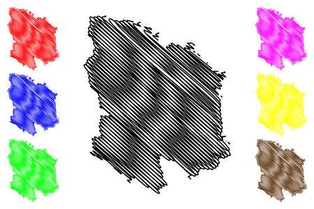Ebersberg district (Federal Republic of Germany, rural district Upper Bavaria, Free State of Bavaria) map vector illustration, scribble sketch Ebersberg map