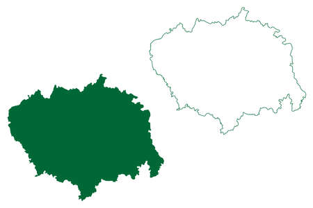 Sitapur district (Uttar Pradesh State, Republic of India) map vector illustration, scribble sketch Sitapur map