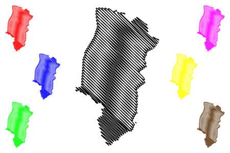 Emsland district (Federal Republic of Germany, rural district, State of Lower Saxony) map vector illustration, scribble sketch Emsland map 일러스트