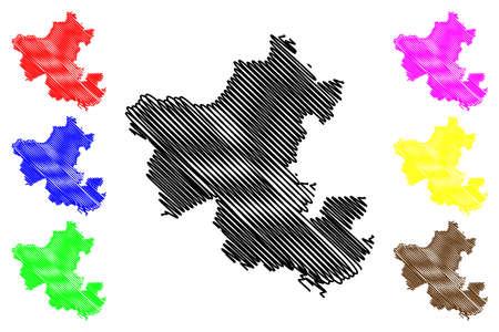 Ennepe-Ruhr-Kreis district (Federal Republic of Germany, State of North Rhine-Westphalia, NRW, Arnsberg region) map vector illustration, scribble sketch Ennepe Ruhr Kreis map 일러스트