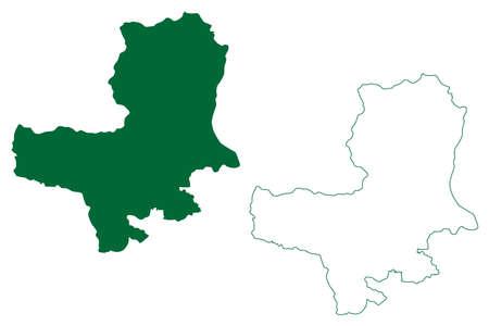 Bageshwar district (Uttarakhand or Uttaranchal State, Republic of India) map vector illustration, scribble sketch Bageshwar map