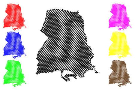 Frankfurt Oder city (Federal Republic of Germany, Urban district, State of Brandenburg) map vector illustration, scribble sketch Stadt Frankfurt an der Oder map