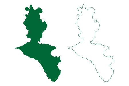 Dehradun district (Uttarakhand or Uttaranchal State, Republic of India) map vector illustration, scribble sketch Dehra Dun map 일러스트