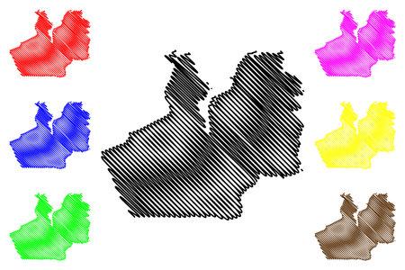 Flensburg city (Federal Republic of Germany, Urban district, Free State of Schleswig-Holstein, Slesvig Holsten) map vector illustration, scribble sketch Flensburg map