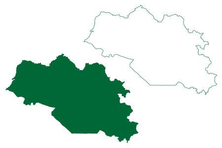 Nainital district (Uttarakhand or Uttaranchal State, Republic of India) map vector illustration, scribble sketch Nainital map