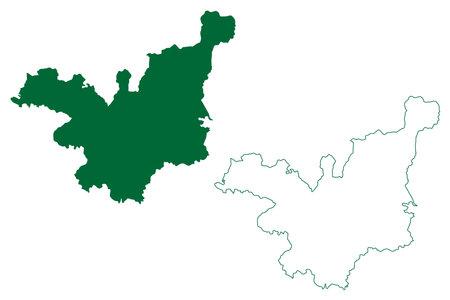 Tehri Garhwal district (Uttarakhand or Uttaranchal State, Republic of India) map vector illustration, scribble sketch Tehri Garhwal map
