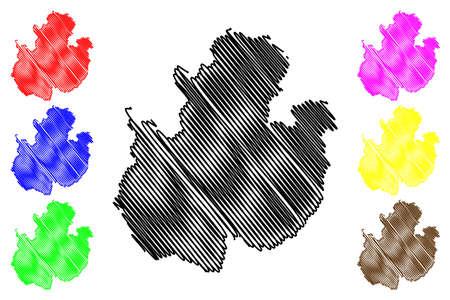 Fulda district (Federal Republic of Germany, rural district Kassel region, State of Hessen, Hesse, Hessia) map vector illustration, scribble sketch Hersfeld Fulda map 일러스트