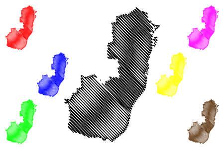 Germersheim district (Federal Republic of Germany, State of Rhineland-Palatinate) map vector illustration, scribble sketch Germersheim map 일러스트