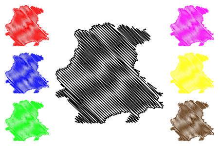 Garmisch-Partenkirchen district (Federal Republic of Germany, rural district Upper Bavaria, Free State of Bavaria) map vector illustration, scribble sketch Garmisch Partenkirchen map 일러스트