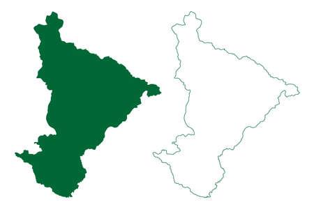 Pithoragarh district (Uttarakhand or Uttaranchal State, Republic of India) map vector illustration, scribble sketch Pithoragarh map