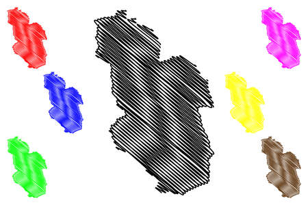 Gelsenkirchen city (Federal Republic of Germany, State of North Rhine-Westphalia, NRW, Urban district, Munster region) map vector illustration, scribble sketch Gelsenkirchen map 일러스트