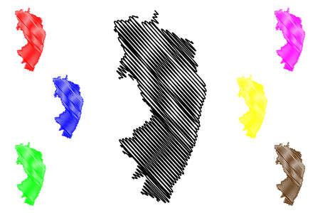 Gorlitz district (Federal Republic of Germany, rural district Swabia, Free State of Saxony) map vector illustration, scribble sketch Gorlitz map