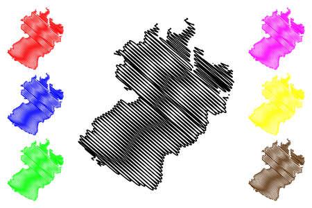 Herzogtum Lauenburg district (Federal Republic of Germany, rural district, Free State of Schleswig-Holstein, Slesvig Holsten) map vector illustration, scribble sketch Kreis Herzogtum Lauenburg map