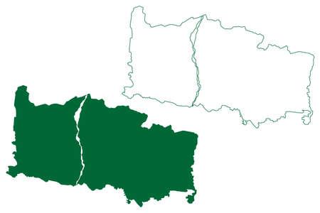 Alipurduar district (West Bengal State, Republic of India) map vector illustration, scribble sketch Alipurduar map 일러스트