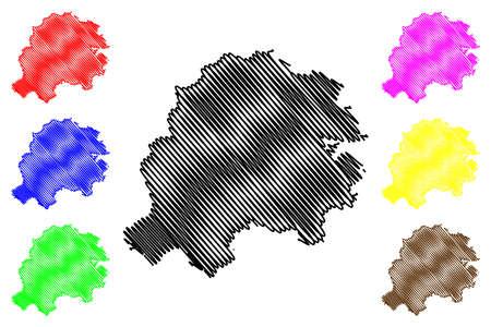 Hersfeld-Rotenburg district (Federal Republic of Germany, rural district Kassel region, State of Hessen, Hesse, Hessia) map vector illustration, scribble sketch Hersfeld Rotenburg map