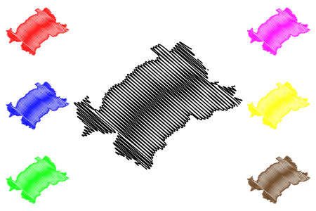 Heinsberg district (Federal Republic of Germany, State of North Rhine-Westphalia, NRW, Cologne region) map vector illustration, scribble sketch Heinsberg map 일러스트