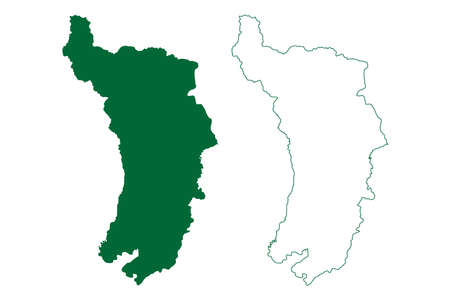 Darjeeling district (West Bengal State, Republic of India) map vector illustration, scribble sketch Darjeeling map 일러스트