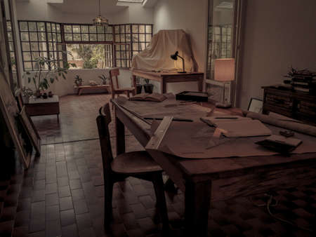 Beautiful rustic studio for architects 스톡 콘텐츠