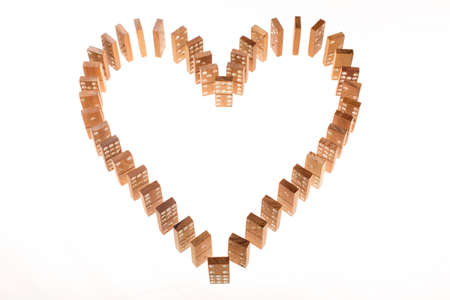 feel affection: Dominoes standing in heart shape