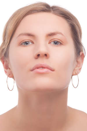 soft and calm facial makeup of young caucasian girl isolated against white photo