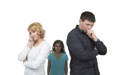 father and mother misunderstand their teenage girl standing separated from each other needed support and dialog isolated over white background