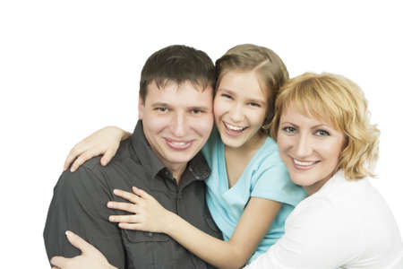 three young caucasian family members together in one accord standing with pleasing attitude and embracing each other with sincere smile Stock Photo - 13522791