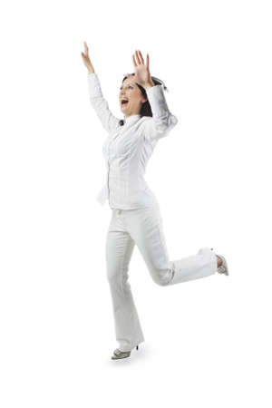 hands lifted: portrait of a positive pretty caucasian white woman with hands lifted expressing positivity isolated over white background