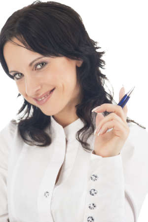 businesswoman holding pen in front to write something smiling and isolated on white background photo