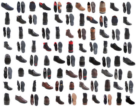 foot gear: 88 pairs of different male autumn and summer footwear isolated over white background