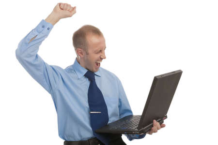 exclaiming: portrait of a man using laptop and exclaiming standing against white background
