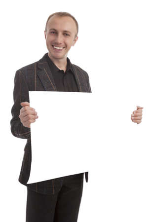 hansome: hansome man showing empty white board with copyspace isolated
