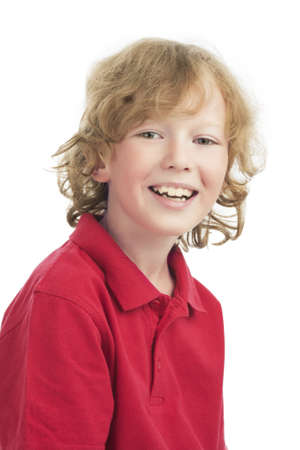 lovely natural portrait of smiling caucasian little blond boy over white background