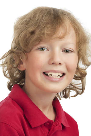 lovely natural portrait of smiling caucasian little blond boy over white background photo