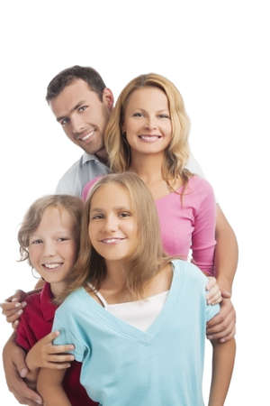 close up of a young caucasian family together standing together against pure white background