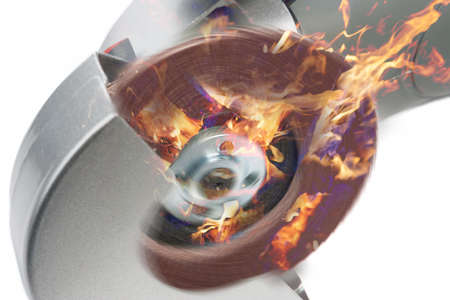 circular saw: power circular saw in fire composite image  isolated on white