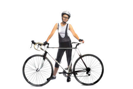 professionally: portrait of young caucasian sportswoman professionally equipped standing with bicycle isolated over white  horizontal shot