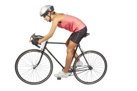 sportwear: portrait of young female professional cycling athlete posing with racing bike.model equipped with professional sport gear, isolated over pure white background. horizontal shot Stock Photo