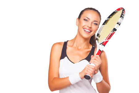 Happy Smiling Female Tennis Player with Professional Tennis Outfit and Brand New Tennis Racket On Shoulder. Isolated Over White. Horizontal Image