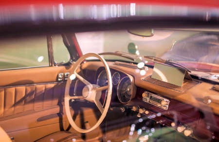 Inside Vuew of a Cabin of the Old Fashioned Car. Horizontal Image Stock Photo - 24838820