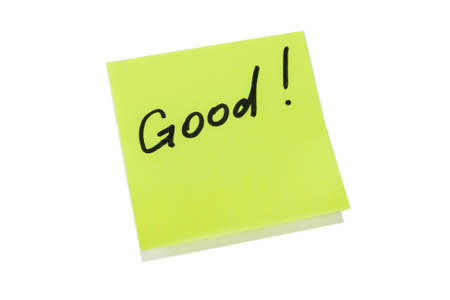 yello: Yello Sticky Note With Good! Written Text On It. Horizontal Image Stock Photo