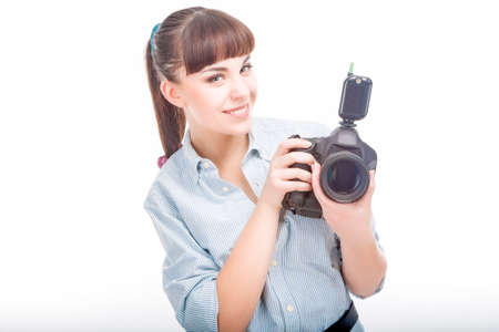 prior: Photographer Woman Holding DSLR Camera Prior to Taking Photographs.