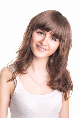 Young Caucasian Woman Wearing Orthodontic Teeth Brackets.