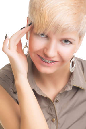 Young Caucasian Woman Wearing Orthodontic Teeth Brackets.  photo