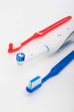 Dental Products for Oral Hygiene Over White. Vertical Image photo