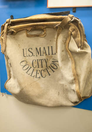 Picture of Authentic Postal Bag Used by Mail Carriers  Vertical Image Stock Photo