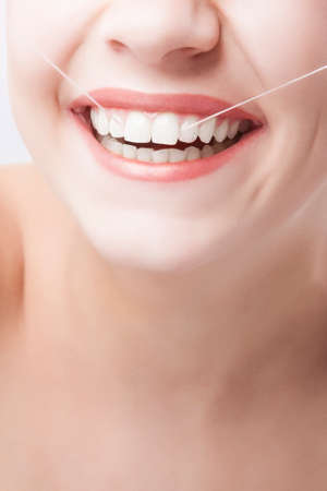 cary: Beautiful Caucasian Woman Smile. Dental Care  Concept