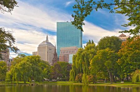 Boston City  Public Garden  Horizontal Composition  HDR image photo