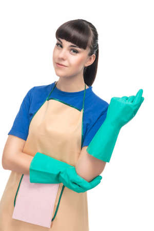 long life: Cleaning Concept: Young Optimistic Housewife with Protective Rubber Gloves Prior To Cleaning. Vertical Image. Isolated on White