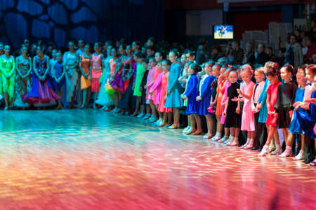 prior: Minsk-Belarus, October 19, 2014: Dance couples standing prior to the IDSA World Open Championship 2014 start-off in October 19, 2014, in Minsk, Republic of Belarus