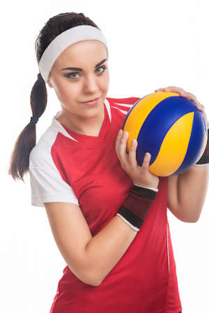 female volleyball: Female Volleyball Player Equipped in Professional Sport Outfit. Standing Isolated Over White Background